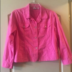 Chico's jacket Pink denim Buttoned size 3